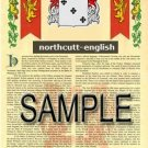 NORTHCUTT - ENGLISH - Armorial Name History - Coat of Arms - Family Crest GIFT! 8.5x11