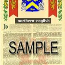 NORTHERN - ENGLISH - Armorial Name History - Coat of Arms - Family Crest GIFT! 8.5x11