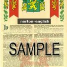 NORTON - ENGLISH - Armorial Name History - Coat of Arms - Family Crest GIFT! 8.5x11