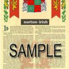 NORTON - IRISH - Armorial Name History - Coat of Arms - Family Crest GIFT! 8.5x11