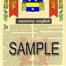 NUNNERY - ENGLISH - Armorial Name History - Coat of Arms - Family Crest GIFT! 8.5x11