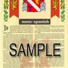 NUNO - SPANISH - Armorial Name History - Coat of Arms - Family Crest GIFT! 8.5x11