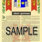 OBER - GERMAN - Armorial Name History - Coat of Arms - Family Crest GIFT! 8.5x11