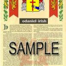 ODANIEL - IRISH - Armorial Name History - Coat of Arms - Family Crest GIFT! 8.5x11