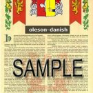 OLESON - DANISH - Armorial Name History - Coat of Arms - Family Crest GIFT! 8.5x11