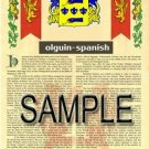 OLGUIN - SPANISH - Armorial Name History - Coat of Arms - Family Crest GIFT! 8.5x11