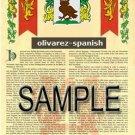 OLIVAREZ - SPANISH - Armorial Name History - Coat of Arms - Family Crest GIFT! 8.5x11