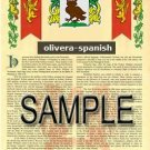 OLIVERA - SPANISH - Armorial Name History - Coat of Arms - Family Crest GIFT! 8.5x11