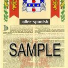OLLER - SPANISH - Armorial Name History - Coat of Arms - Family Crest GIFT! 8.5x11