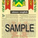 OLMOS - ENGLISH - Armorial Name History - Coat of Arms - Family Crest GIFT! 8.5x11