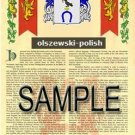 OLSZEWSKI - POLISH - Armorial Name History - Coat of Arms - Family Crest GIFT! 8.5x11