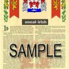 ONEAL - IRISH - Armorial Name History - Coat of Arms - Family Crest GIFT! 8.5x11