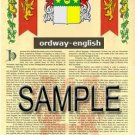 ORDWAY - ENGLISH - Armorial Name History - Coat of Arms - Family Crest GIFT! 8.5x11