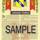 ORLANDO - ITALIAN - Armorial Name History - Coat of Arms - Family Crest GIFT! 8.5x11