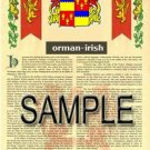 ORMAN - IRISH - Armorial Name History - Coat of Arms - Family Crest GIFT! 8.5x11