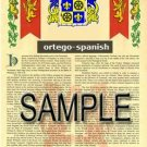 ORTEGO - SPANISH - Armorial Name History - Coat of Arms - Family Crest GIFT! 8.5x11