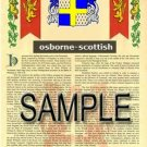 OSBORNE - SCOTTISH - Armorial Name History - Coat of Arms - Family Crest GIFT! 8.5x11