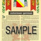 OSTERMAN - GERMAN - Armorial Name History - Coat of Arms - Family Crest GIFT! 8.5x11