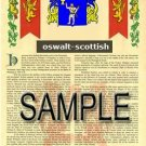 OSWALT - SCOTTISH - Armorial Name History - Coat of Arms - Family Crest GIFT! 8.5x11