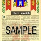 OTERO - SPANISH - Armorial Name History - Coat of Arms - Family Crest GIFT! 8.5x11