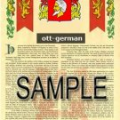OTT - GERMAN - Armorial Name History - Coat of Arms - Family Crest GIFT! 8.5x11