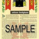 OTTEN - BELGIUM - Armorial Name History - Coat of Arms - Family Crest GIFT! 8.5x11