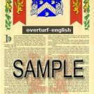 OVERTURF - ENGLISH - Armorial Name History - Coat of Arms - Family Crest GIFT! 8.5x11