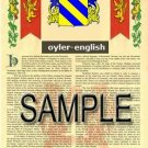 OYLER - ENGLISH - Armorial Name History - Coat of Arms - Family Crest GIFT! 8.5x11
