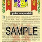 PALACIO - SPANISH - Armorial Name History - Coat of Arms - Family Crest GIFT! 8.5x11