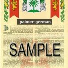 PALMER - GERMAN - Armorial Name History - Coat of Arms - Family Crest GIFT! 8.5x11