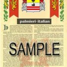 PALMIERI - ITALIAN - Armorial Name History - Coat of Arms - Family Crest GIFT! 8.5x11