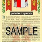 PALMIERI - SPANISH - Armorial Name History - Coat of Arms - Family Crest GIFT! 8.5x11