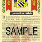 PANNELL - SCOTTISH - Armorial Name History - Coat of Arms - Family Crest GIFT! 8.5x11