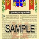 PANTOJA - SPANISH - Armorial Name History - Coat of Arms - Family Crest GIFT! 8.5x11