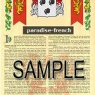PARADISE - FRENCH - Armorial Name History - Coat of Arms - Family Crest GIFT! 8.5x11