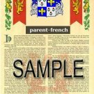 PARENT - FRENCH - Armorial Name History - Coat of Arms - Family Crest GIFT! 8.5x11