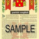 PARISH - ENGLISH - Armorial Name History - Coat of Arms - Family Crest GIFT! 8.5x11