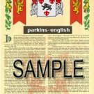 PARKINS - ENGLISH - Armorial Name History - Coat of Arms - Family Crest GIFT! 8.5x11