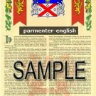 PARMENTER - ENGLISH - Armorial Name History - Coat of Arms - Family Crest GIFT! 8.5x11