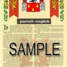 PARROTT - ENGLISH - Armorial Name History - Coat of Arms - Family Crest GIFT! 8.5x11