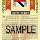 PARTIN - ENGLISH - Armorial Name History - Coat of Arms - Family Crest GIFT! 8.5x11