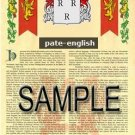 PATE - ENGLISH - Armorial Name History - Coat of Arms - Family Crest GIFT! 8.5x11