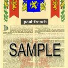 PAUL - FRENCH - Armorial Name History - Coat of Arms - Family Crest GIFT! 8.5x11
