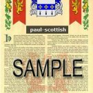 PAUL - SCOTTISH - Armorial Name History - Coat of Arms - Family Crest GIFT! 8.5x11