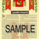 PAULIN - FRENCH - Armorial Name History - Coat of Arms - Family Crest GIFT! 8.5x11