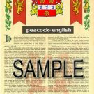 PEACOCK - ENGLISH - Armorial Name History - Coat of Arms - Family Crest GIFT! 8.5x11