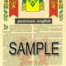 PEARMAN - ENGLISH - Armorial Name History - Coat of Arms - Family Crest GIFT! 8.5x11