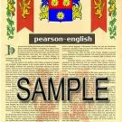 PEARSON - ENGLISH - Armorial Name History - Coat of Arms - Family Crest GIFT! 8.5x11