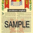 PECKHAM - ENGLISH - Armorial Name History - Coat of Arms - Family Crest GIFT! 8.5x11