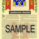 PEDERSEN - DANISH - Armorial Name History - Coat of Arms - Family Crest GIFT! 8.5x11